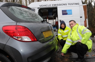 South Lanarkshire council officers carrying out an emissions check