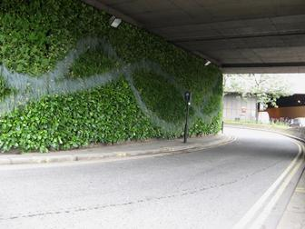 The green wall recently installed by TfL close to the Mermaid theatre in Blackfriars