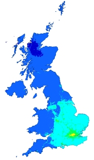 A map showing background levels of PM2.5 across the UK