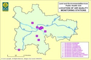 Glasgow city council's map showing air monitoring sites in the city