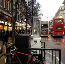 A nitrogen dioxide analyser on Oxford Street installed by Westminster city council