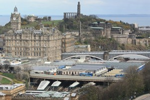 Edinburgh, with Waverley train station in the centre. A series of plans are under discussion to improve congestion in the city
