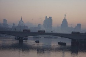 Photo of London smog taken this morning (Feb 19) amid high pollution throughout the UK