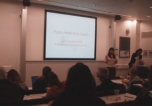 Public health specialist Lucy Saunders speaks at the Mapping for Change conference in at University College London