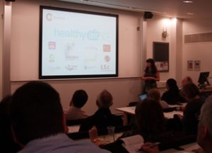 ClientEarth campaigner Maria Arnold speaks at the Mapping for Change conference at University College London