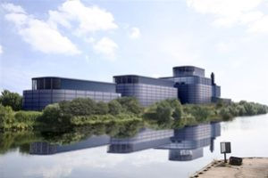 An artist's impression of Peel Energy's proposed Barton biomass energy plant in Greater Manchester