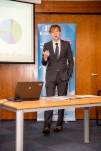 TfL's Finn Coyle addresses attendees at Maidstone bus emissions technology event