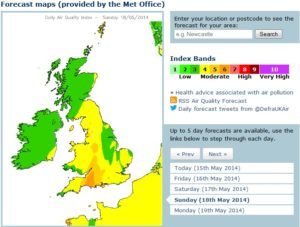 Map showing Met Office air pollution forecast for Sunday May 18 2014