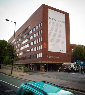 Simon Armitage's poem 'In Praise of Clean Air' was printed on photocatalytic material and draped over a university building in Sheffield in 2014