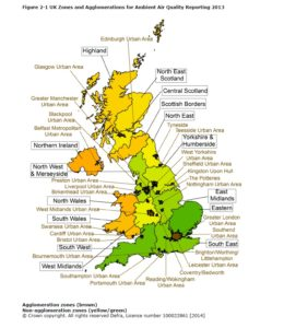 Map showing the UK's 43 air quality zones (click to enlarge)