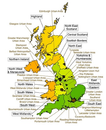 Map showing the UK's 43 air quality zones (source: Defra)