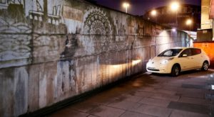 Nissan LEAF-powered Reverse Graffiti mural in Waterloo, London highlighting London?s battle with air quality ? For more info call 0208 541 3434