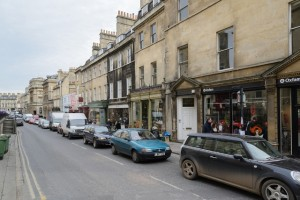 Queue of cars in Bath on a sunny day in March 2013