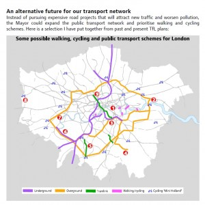A map from Darren Johnson's report showing proposals for alternative non-road transport infrastructure