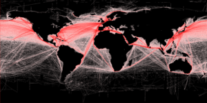 Global shipping routes based on satellite data (picture: Grolltech)