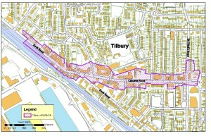 Thurrock council map showing boundaries of the new AQMA, declared close to Tilbury Docks
