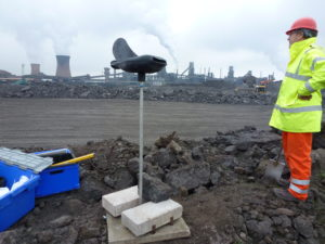 The 'shark-shaped' pollutant monitor developed by Lancaster University and the Environment Agency