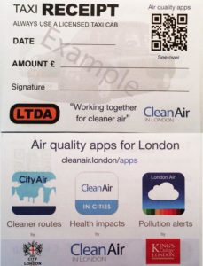 Example of the taxi receipts being used by LTDA drivers showing support for air quality phone apps (click to enlarge)