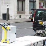 David Mackay of WeCare4Air monitoring pollution at the Supreme Court with ECairpointer & Sky News cropped