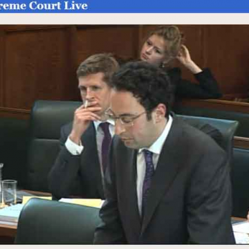 ClientEarth's barrister Ben Jaffey addresses the Court (screen shot taken from the Supreme Court website live stream of yesterday's hearing)