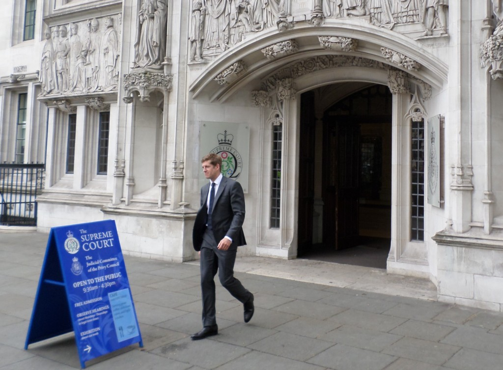 ClientEarth's Alan Andrews emerges from the Supreme Court following the judgement this morning (April 29)