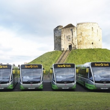 The fleet of six new Park & Ride electric buses