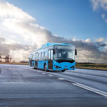 A single deck BYD bus - images of the planned double decker are not yet available