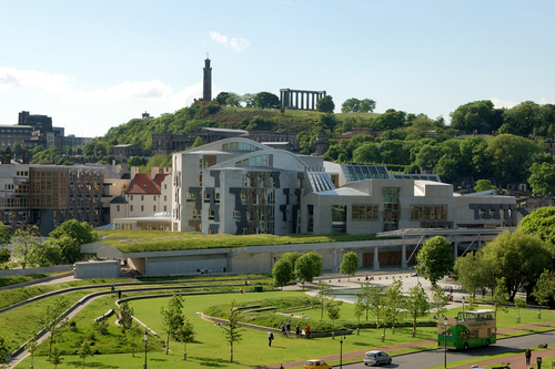 The Scottish Parliament buildings in Holyrood, Edinburgh