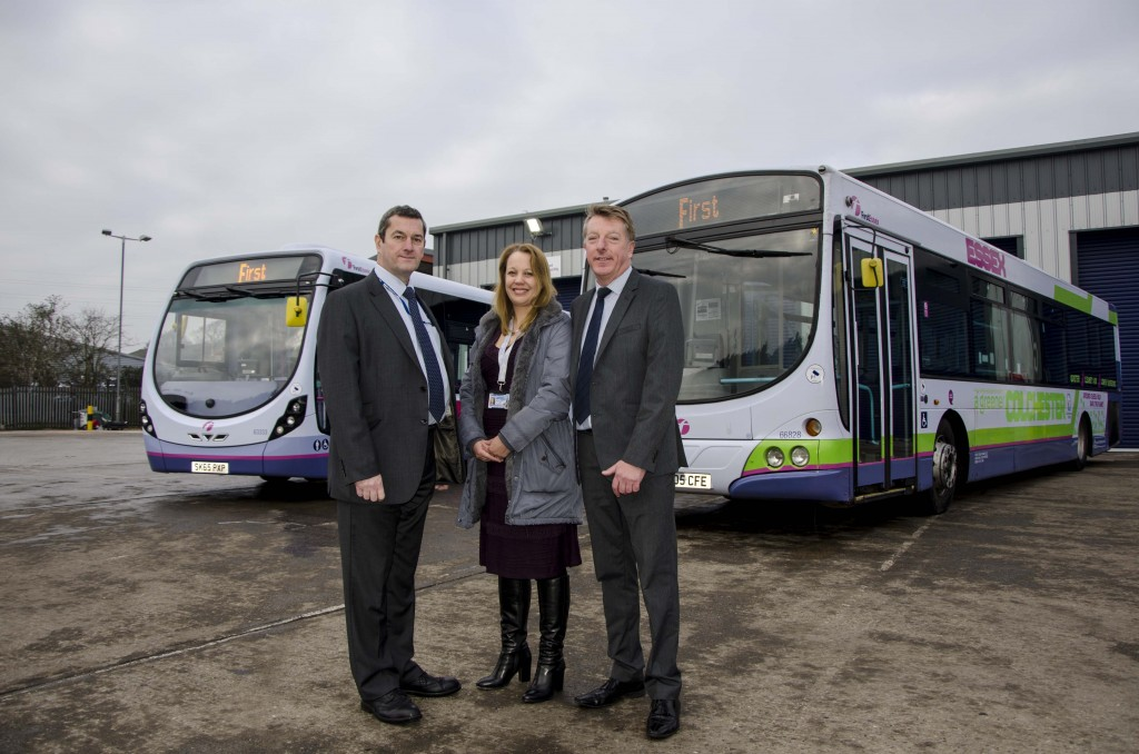 (L-R) Essex fleet director for First buses Chris Phillips; Belinda Silkstone of Colchester borough council and; Steve Hartman of First Buses