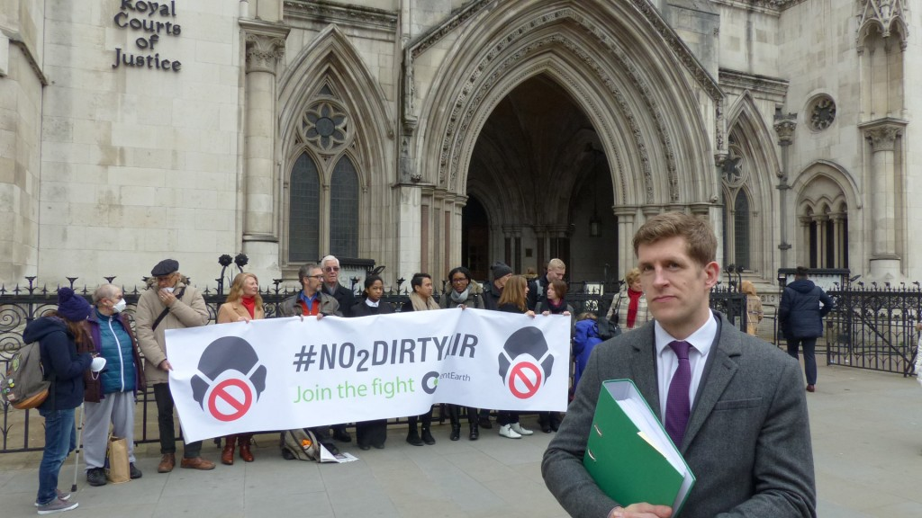 ClientEarth lawyer Alan Andrews with supporters outside the Royal Courts of Justice today (March 18)