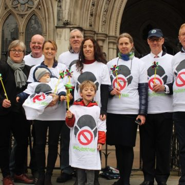 Supporters of ClientEarth's case gathered outside the High Court on the first day of the trial