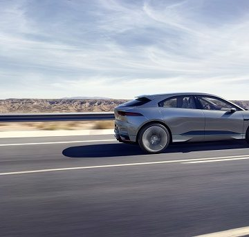 A digital rendering of Jaguar's I-Pace electric vehicle